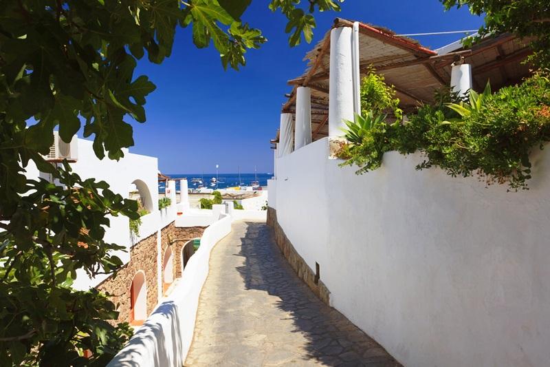14389459 - street towards the sea on panarea island